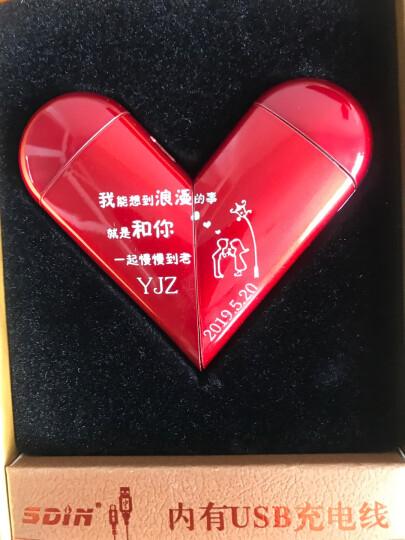 征伐 USB充电打火机 防风刻字金属创意旋转爱心打火机双电弧点烟器超薄复古老式礼物送男友老公 SZ-331红心+礼盒+烟盒保护壳+免费刻字 晒单图