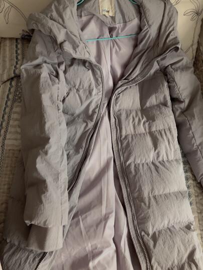 茵曼冬装新款防风保暖连帽立领长款净色羽绒服女【1874121120】 粉紫色 M 晒单图