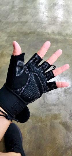 LAC健身手套 器械训练 耐磨防滑 运动手套 骑行手套加长护腕 改进版 黑色XL码 晒单图
