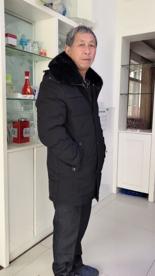 南极人羽绒服男中老年中长款加厚保暖连帽羽绒服男老年人外套男装冬季新品大码宽松爸爸装送礼 687款-卡其色 L(可穿110-125斤) 晒单图