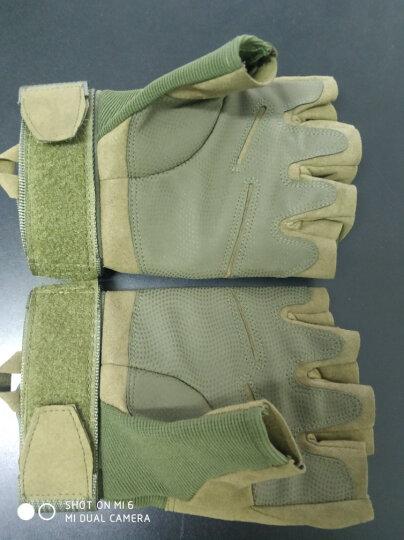 战术手套黑鹰半指户外军迷手套防割军迷配饰防滑登山骑行运动健身手套 军绿色全指款(防护板) XL 晒单图