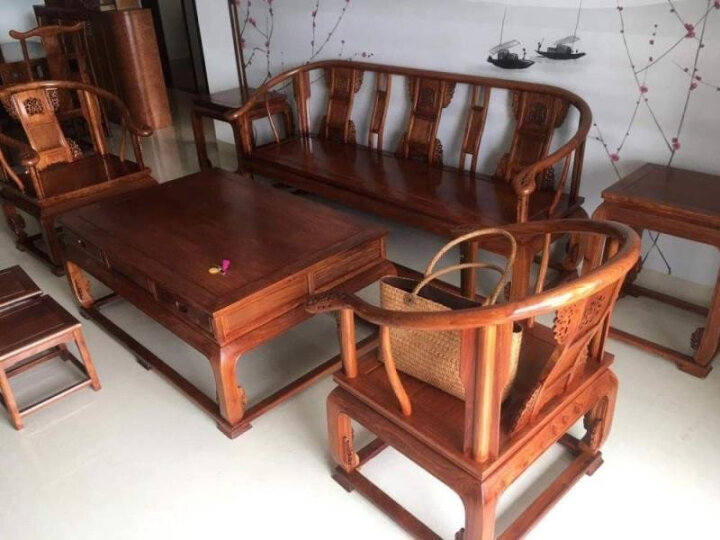 【全年底价】周家庄红木家具非洲花梨(学名:刺猬紫檀)沙发实木沙发 新中式客厅家具沙发组合皇宫椅沙发 113组合六件套送坐垫 晒单图