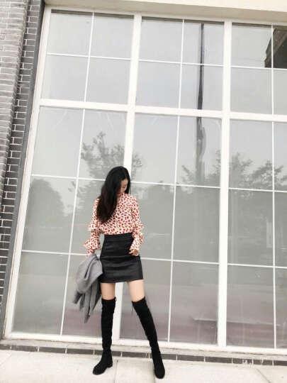 2019秋冬季新款过膝长靴女平底靴子女性感磨砂长筒靴学生弹力靴加绒潮 黑色(单里) 38 晒单图