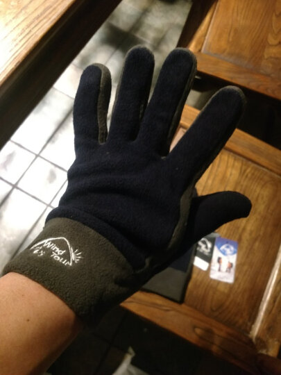 威迪瑞户外抓绒手套男女款跑步加厚保暖手套冬季防风健身骑行全指手套 灰色(拉链触屏款) L 晒单图