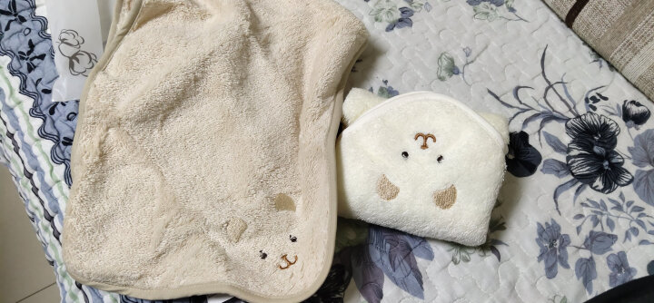 三利 有机棉婴幼儿口水巾2条装 A类安全标准 纯棉擦汗巾 带挂绳方巾 26×26cm 绣花小熊 晒单图