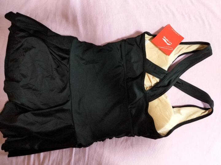 李宁(LI-NING)泳衣女士修身遮肚显瘦连体裙式温泉游泳衣保守大码泳装 020-1黑色 L 晒单图