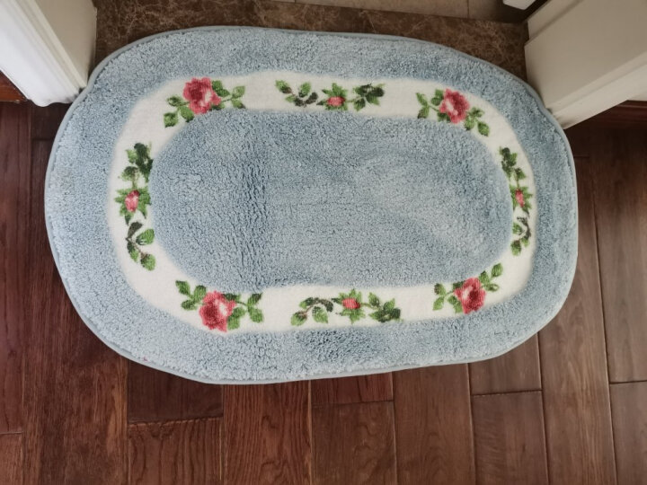 绿松 加厚吸水防滑地垫 脚垫家用卫浴厨房卧室卫生间浴室防滑垫地毯门垫垫子地垫 驼色-田园 40*60cm椭圆 晒单图