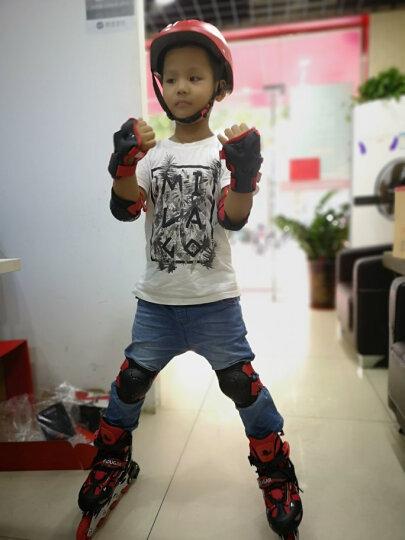 美洲狮(COUGAR)溜冰鞋儿童闪光轮滑鞋男女滑冰旱冰鞋全套装 欧盟品质 黑红套装 M(可调31-36码) 晒单图