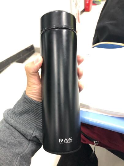 然也(RAE)保温杯304不锈钢内胆双层茶杯保温壶 男女士商务时尚过滤车载泡茶学生水杯子 500ml黑色R3106 晒单图