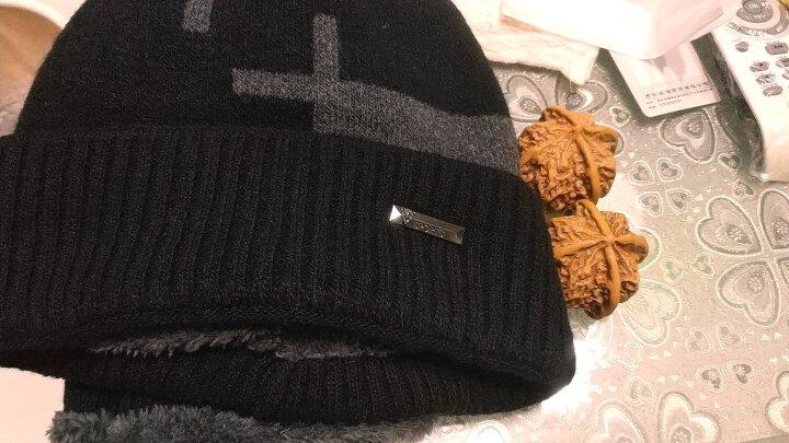 哲时 冬季男士针织毛线帽子保暖围脖户外骑车加厚加绒护耳套头帽MZ1305 黑色 均码适合55-60头围 晒单图