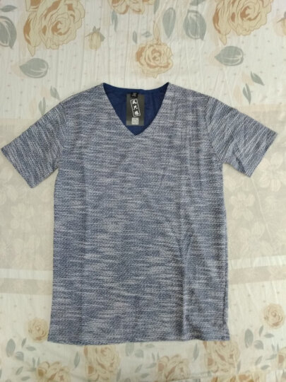 又只狼  短袖t恤男V领棉韩版夏天小衫打底衫半袖T桖上衣男装夏季新款 棕色 XL 晒单图