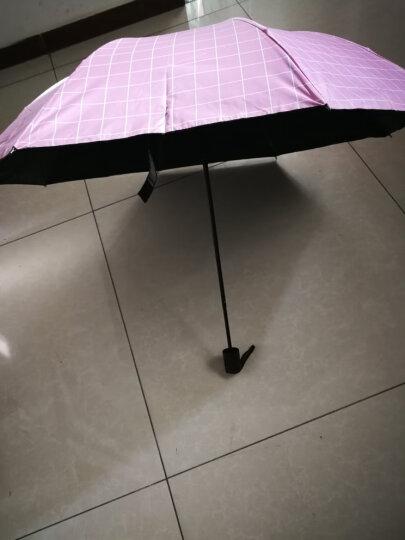 太阳伞女防紫外线商务英伦格子遮阳伞黑胶折叠创意防风防晒伞女生用北欧简约风小清新雨伞晴雨两用 英伦格子-藏青色 晒单图
