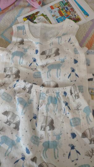 南极人(Nanjiren) 男女童套装琵琶衣夏季薄款背心套新款无袖两侧镂婴儿衣服 手绘云朵-浅绿 110CM 晒单图