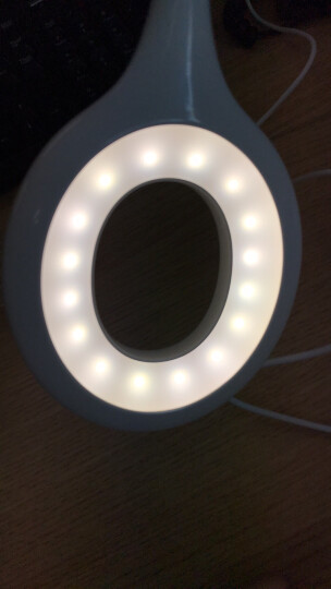美的(Midea)led充电台灯 环形学习灯 宿舍书桌卧室床头夹子灯  三档调光 4000K  典雅白 晒单图