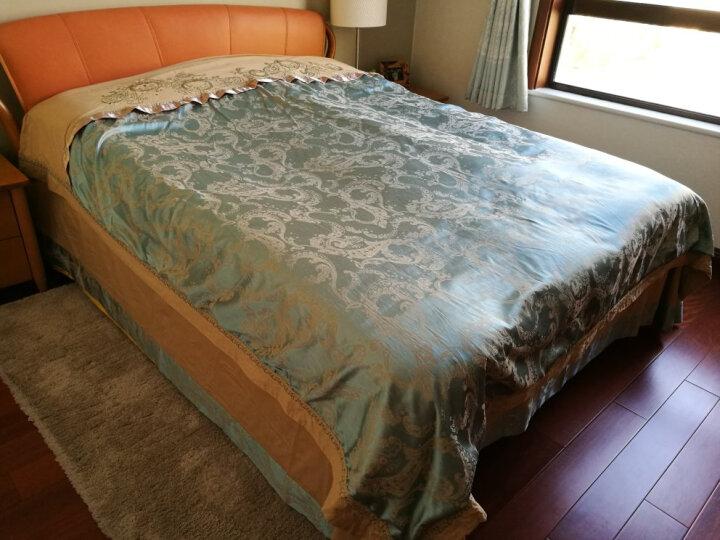 北极绒 全棉贡缎提花四件套 纯棉婚庆床单式床上用品 双人床品套件 奢华风情(绿驼) 1.8米床(被套200*230cm) 晒单图