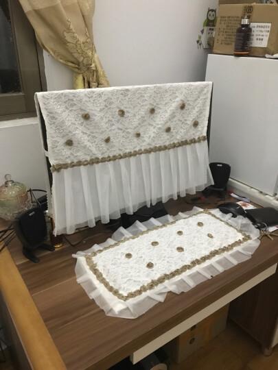 蒂朵 电脑罩防尘罩 液晶显示器罩蕾丝布艺防尘机箱键盘罩24寸 一米时光三件套 24寸 晒单图