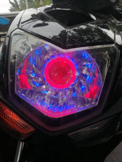 鹿途 汽摩托车灯电动车改装大灯 LED激光炮强光爆闪内置前射灯鬼火天使眼光圈高亮度远光近光 蓝色单天使眼光圈 晒单图