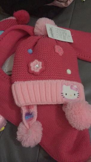 凯蒂猫(HELLO KITTY)女童帽子围巾两件套装儿童保暖针织围脖毛线帽 KT9001 玫红色均码/适合2-6岁 晒单图