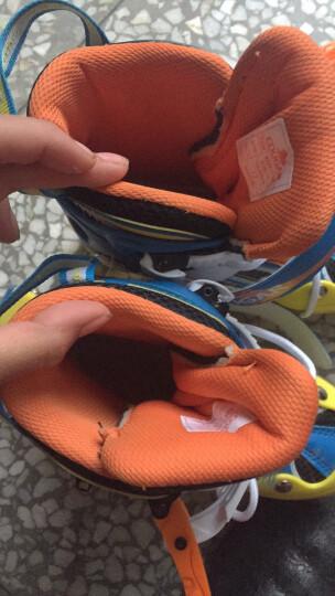 美洲狮(COUGAR)溜冰鞋儿童闪光轮滑鞋男女滑冰旱冰鞋全套装 欧盟品质 蓝黄套装 M(可调31-36码) 晒单图