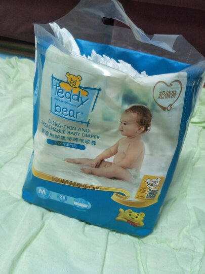 泰迪熊Teddy Bear超薄透气纸尿裤M25片(6-11公斤)婴儿尿不湿 晒单图