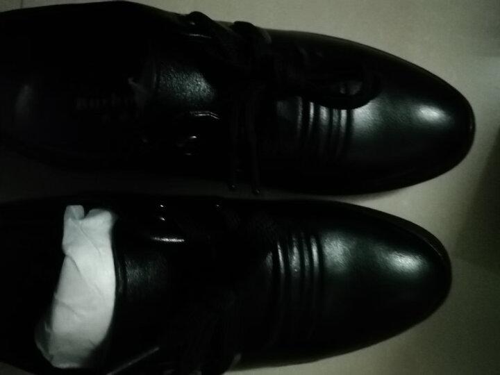 芭步仕春季新款男鞋经典皮鞋男爸爸鞋真皮牛皮系带时尚商务休闲鞋 棕色-标准码 42 晒单图
