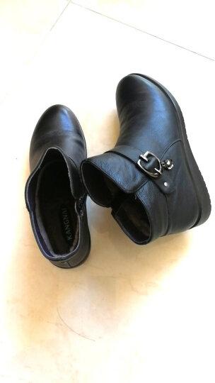 康奈女鞋子 冬季女士真皮靴子女新款加毛单靴休闲平底马丁靴女短靴大码1268707 黑色 37 晒单图