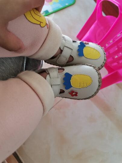 屁屁熊夏季新款学步鞋0-3岁牛皮婴儿步前鞋男女宝宝软底鞋 大红色 16码/内长12.7cm 晒单图