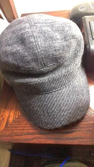 卡蒙(kenmont)毛呢帽子男士冬季户外中老年休闲军帽全封闭鸭舌帽羊毛保暖平顶帽2531 深灰色 可调节 58.5cm 晒单图