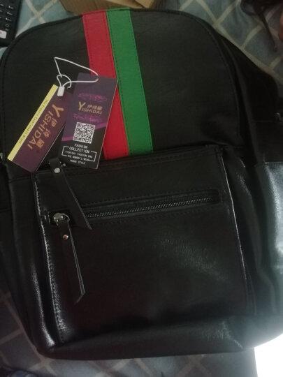 伊诗黛时尚背包双肩包女韩版2020新款旅行包百搭大容量休闲女包学生书包潮 红绿条纹 晒单图