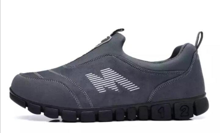 卡地玛丽老人鞋防滑软底中老年健步鞋套脚防滑爸爸妈妈鞋运动休闲男女鞋 M28 深灰/女款 35 晒单图