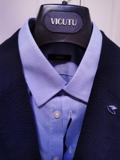 威可多VICUTU男士长袖DP免烫衬衫商务正装高档纯棉蓝色西装衬衣VBW99351143惠 蓝色条纹 195/112B/45 晒单图