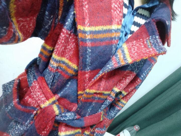 衣阁里拉欧美名媛风加厚毛呢大衣宽松大码复古格子中长款羊毛呢料外套女装9242 红蓝格9242 精品版XXS码/身高160CM 晒单图
