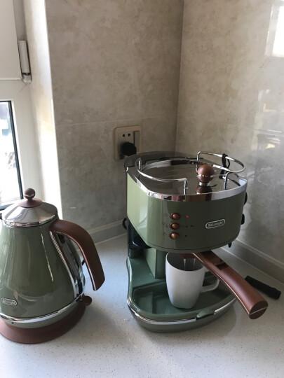 德龙(Delonghi)咖啡机 半自动咖啡机 意式浓缩 家用 商用 办公室 复古泵压式不锈钢锅炉 ECO310.VGR 橄榄绿 晒单图