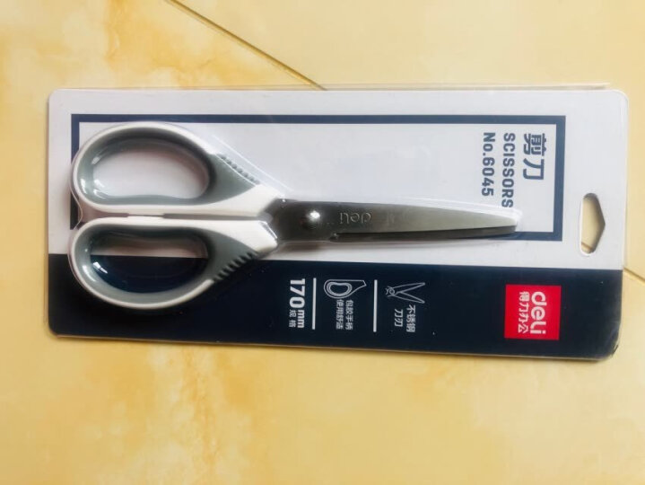 得力(deli)170mm中号不锈钢办公剪刀 桌面手工剪子 颜色随机 晒单图