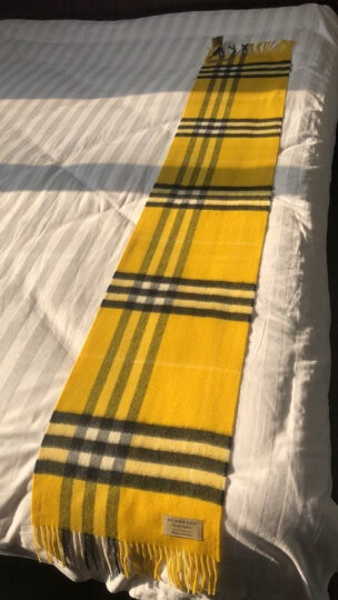 BURBERRY 巴宝莉 男女通用款亮矢车菊蓝色格纹羊绒围巾 40310381 晒单图