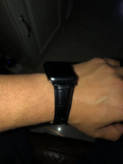 洽利(QIALI)进口真皮智能手表iwatch2/3/4表带 适用于Apple watch/苹果手表 42mm经典黑色 带不锈钢连接器+蝴蝶扣 晒单图