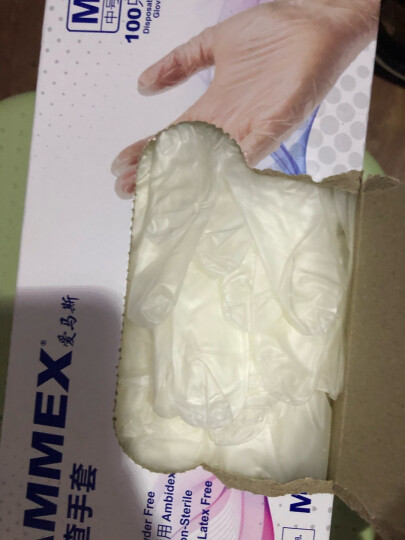爱马斯 AMMEX GPX3C一次性透明PVC检查手套家务美容美发洗碗手套清洁劳保 100只/盒 透明 M 晒单图