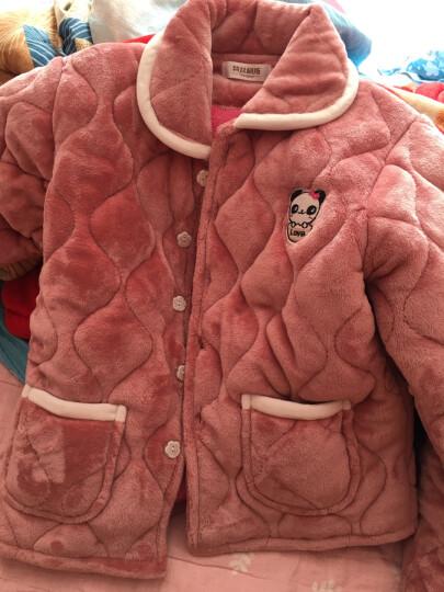 特丝格斯 睡衣女冬加厚套装珊瑚绒保暖夹棉衣加大码加绒法兰绒家居服 1379波点灰色 XL-(三层加厚夹棉) 晒单图