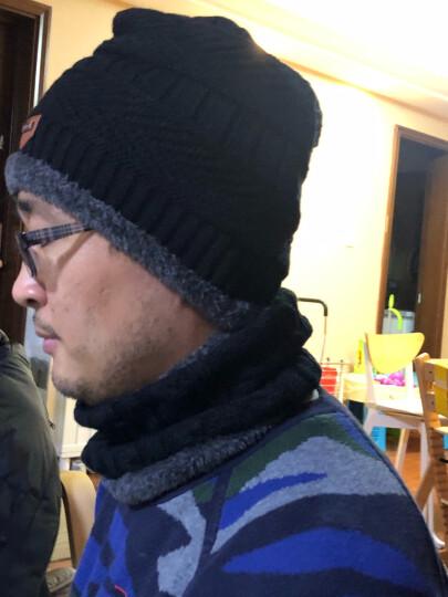 帽子男冬季毛线帽头套加绒加厚针织帽女士保暖防寒围脖护耳套装户外骑行防风包头帽男 灰色帽子+围脖 均码弹性很大 晒单图