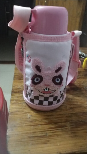 杯具熊(BEDDYBEAR)儿童保温杯带吸管儿童水杯316不锈钢保温儿童水壶630ML 3D浮雕-粉色兔子 晒单图
