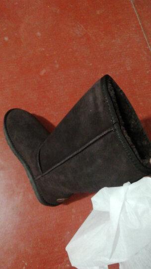 艾斯臣雪地靴女款高筒靴牛皮女靴冬季保暖女鞋 高筒-粉色 37 晒单图
