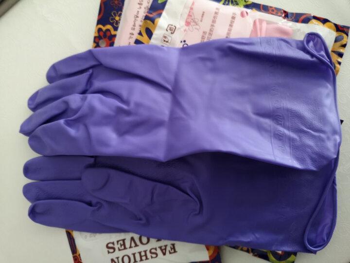 家杰优品 家务手套 长袖橡胶手套 厨房清洁洗碗洗衣胶皮手套 防水耐用加厚 1双装 JJ-405 晒单图