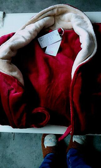 琼瑛法兰绒情侣睡袍男女士浴袍春秋冬季珊瑚绒睡衣加厚浴衣家居服 1902酒红女酒红一件 XL 晒单图