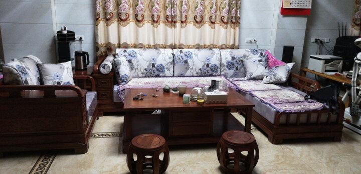 安邸红木家具非洲花梨(学名:刺猬紫檀)沙发实木沙发新中式仿古客厅沙发组合布艺转角贵妃沙发 转角贵妃(高箱薄坐垫) 三件套(双人位+贵妃+大茶几) 晒单图