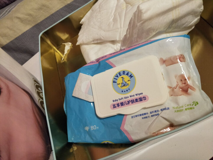 五羊(FIVERAMS)婴儿护肤柔湿巾湿纸巾80片×6包宝宝湿纸巾抽纸湿巾带盖 晒单图