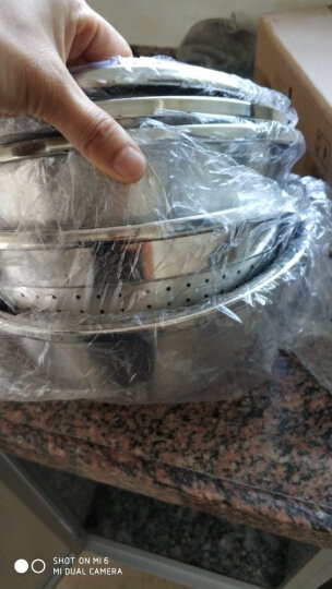 欧橡 OAK 加厚优质不锈钢盆三件套 调料盆味斗和面打蛋洗菜米筛淘米盆22cm*24cm*24cm OX-C127 晒单图