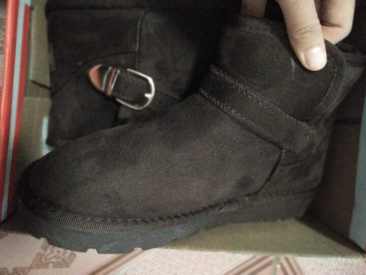 人本雪地靴2019新款短筒靴子女冬季加绒女靴网红短靴子加厚棉靴潮 粉色 38码 晒单图