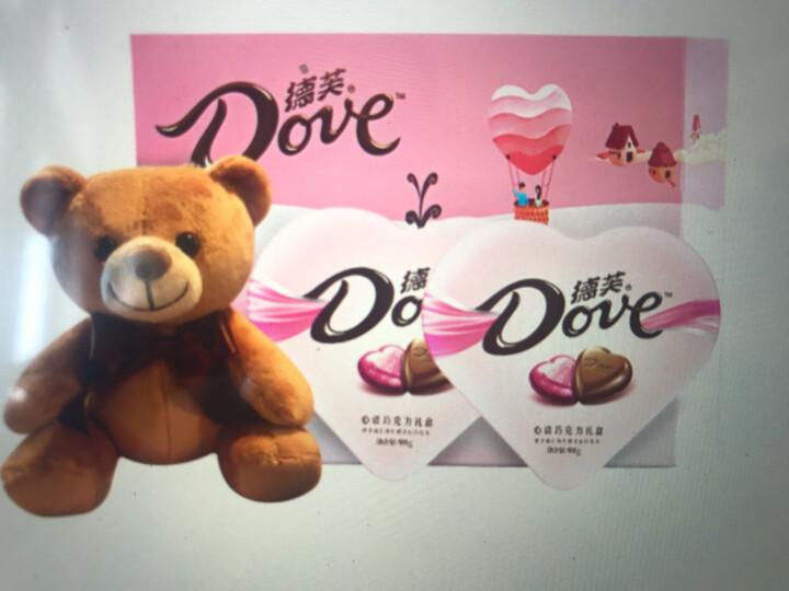 德芙 Dove马卡龙巧克力礼盒  送闺蜜零食196g (心语巧克力98g*2+萌熊+礼盒) 晒单图