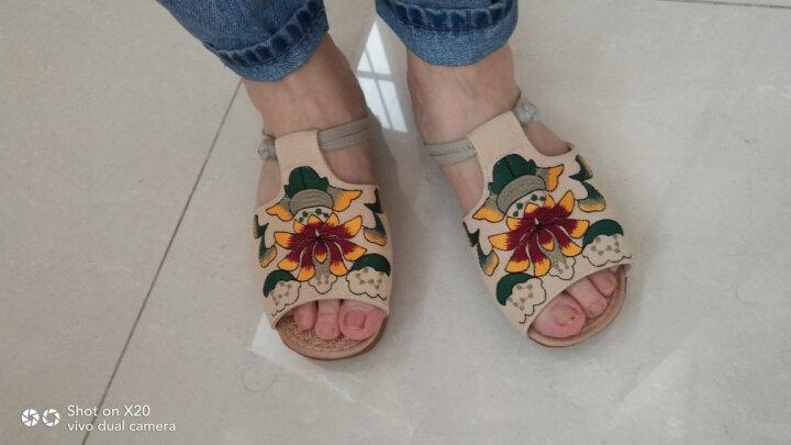 艺汇家夏季新款民族风绣花鞋 时尚特色女鞋坡跟拖鞋 米色 35 晒单图