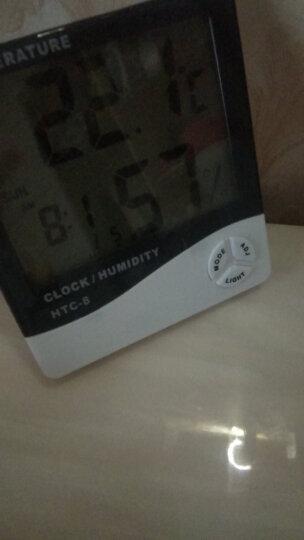 雨花泽(Yuhuaze)温湿度计 商务型夜光电子温度计大屏幕时钟闹钟HTC-8 晒单图
